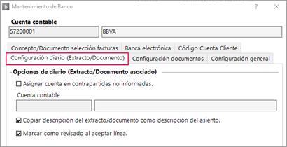 configuración extracto documento