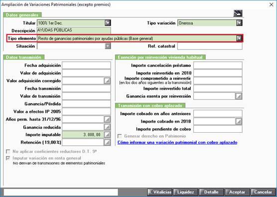 VO (Variación onerosa/lucrativa) Ayudas Públicas