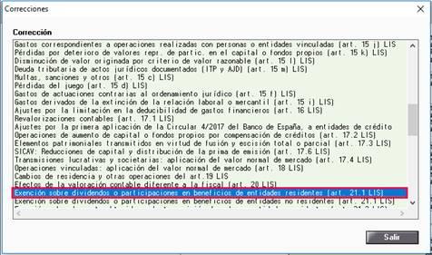 Exención sobre dividendos o participaciones en beneficios de entidades residentes (art 21.1 LIS)