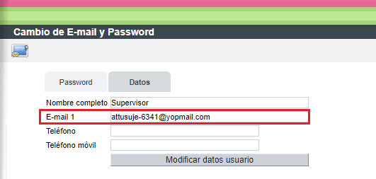 Cambio de E-mail y Password