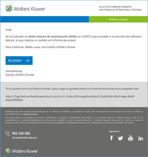 Email invitación