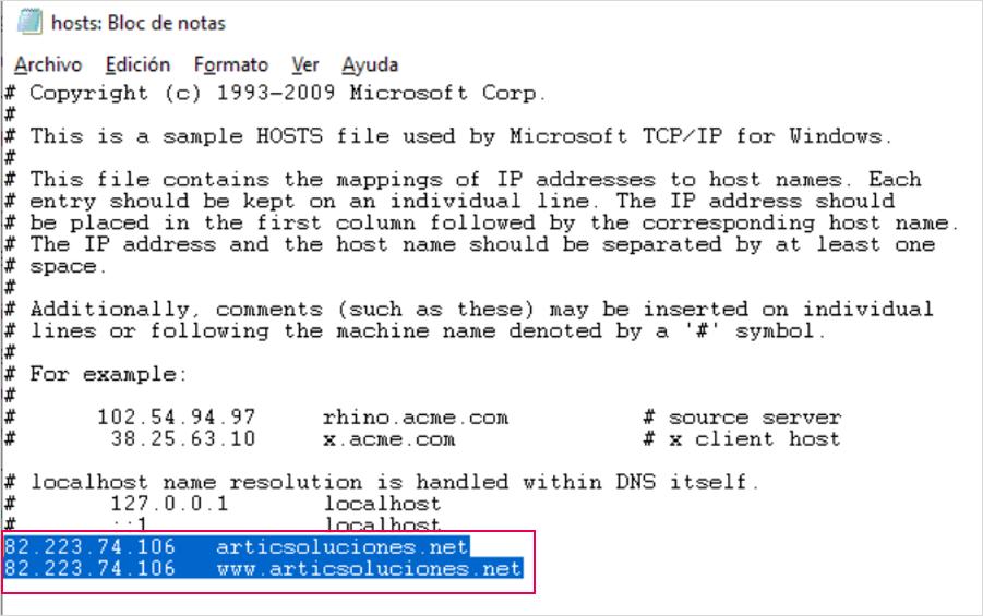 fichero hosts