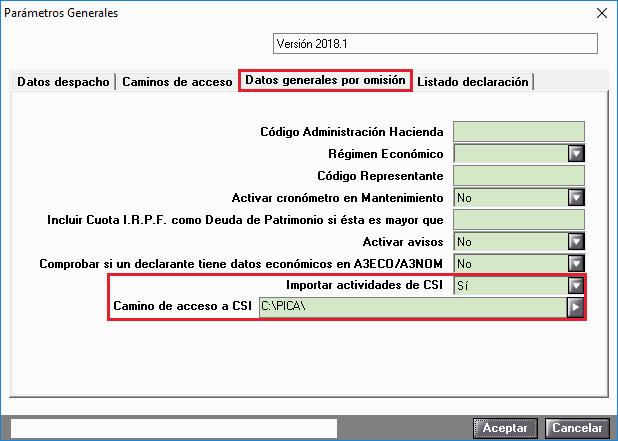 Parametros generales Camino CSI
