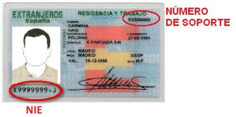 Numero de soporte de la tarjeta de extranjero
