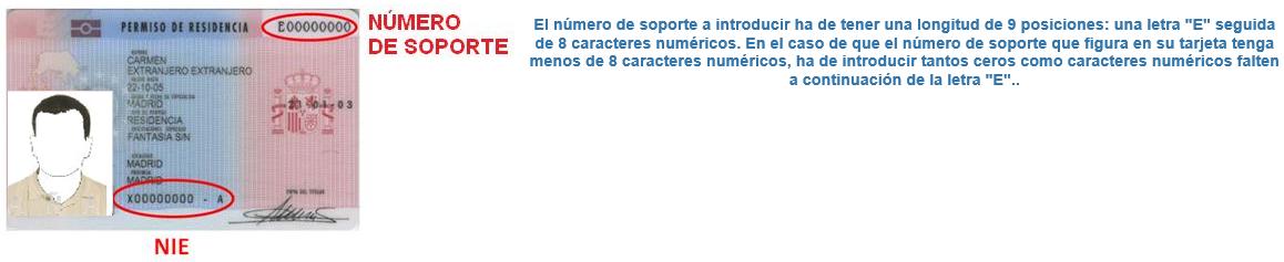 Numero de soporte del permiso de residencia