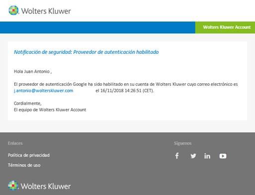 Notificación de seguridad: Proveedor de autenticación habilitado