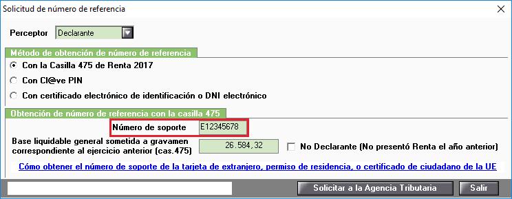 Solicitud numero referencia Numero de soporte