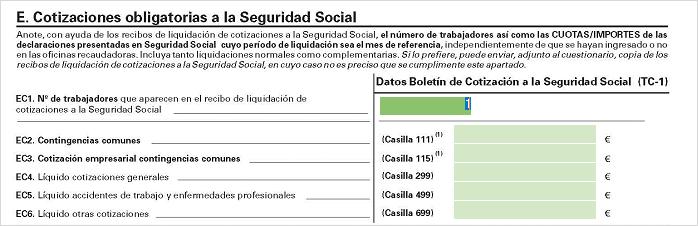 apartado E cotizaciones obligatorias seguridad social