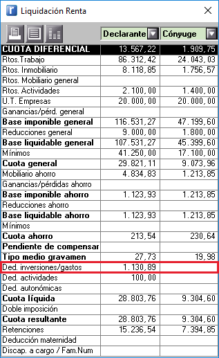 Liquidacion renta Deduccion UF UE EEE