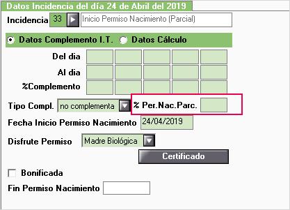 periodo de nacimiento a tiempo parcial