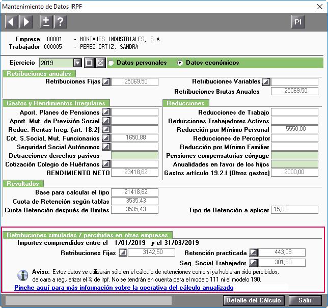 Retribuciones simuladas percibidas en otras empresas