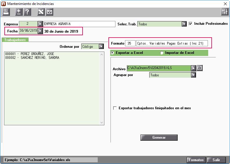 Exportar a Excel formato 35 incidencias