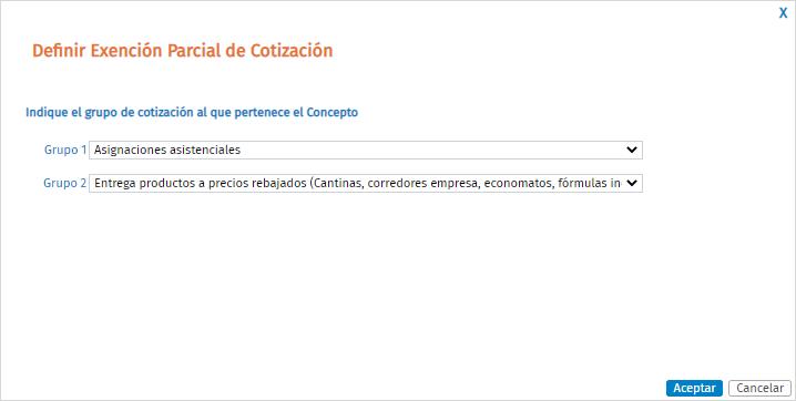 definir exencion parcial de cotizacion
