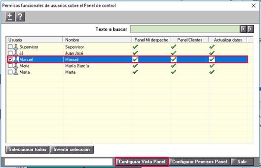 Configurar vista del panel