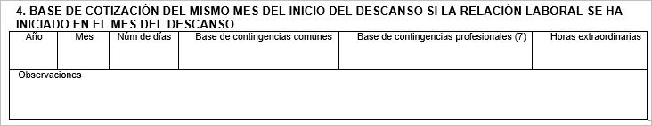 BASE DE COTIZACIoN DEL MISMO MES DEL INICIO DEL DESCANSO