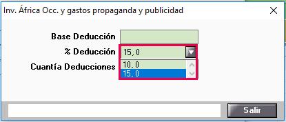 porcentaje de deducción