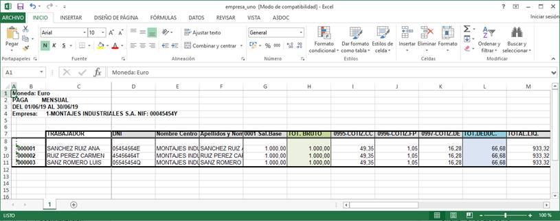Excel datos personales y economicos