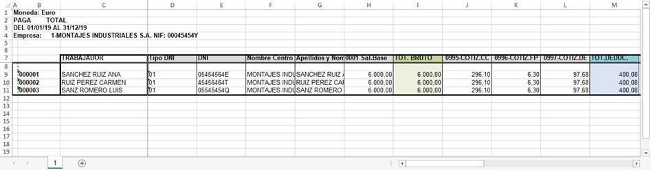 Excel Listado todos trabajadores con retribuciones