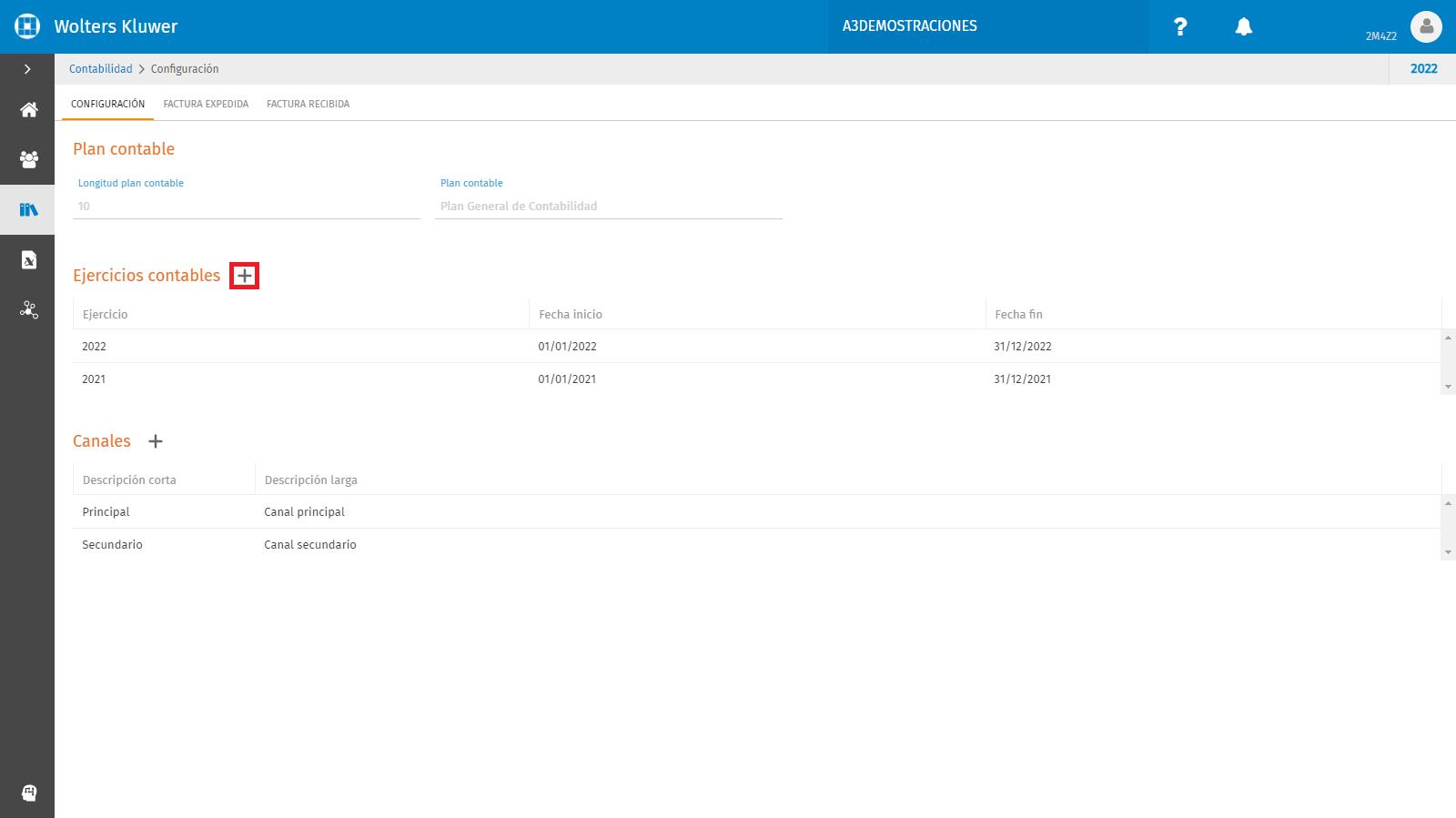 CONTABILIDAD Configuracion contable Nuevo ejercicio