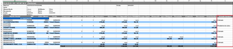 Listado de Diario de ventas en Excel