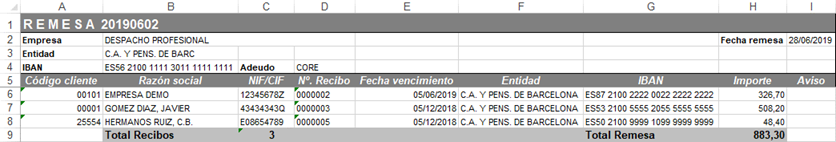 Remesas de Recibos en Excel