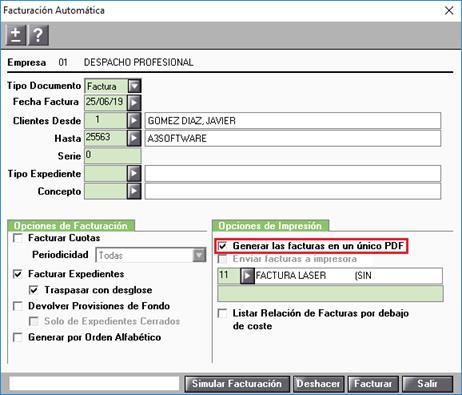 FActuración Automática Opciones de Impresión
