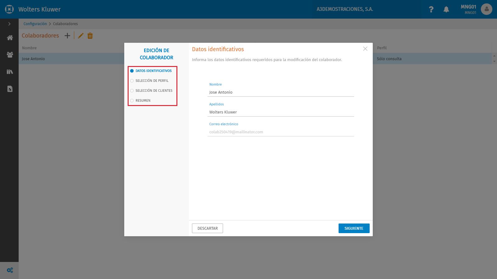 Configuracion Edicion de colaborador