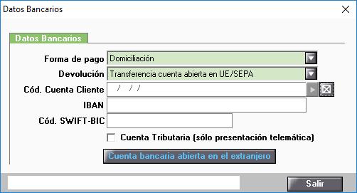 Datos bancarios con datos informados