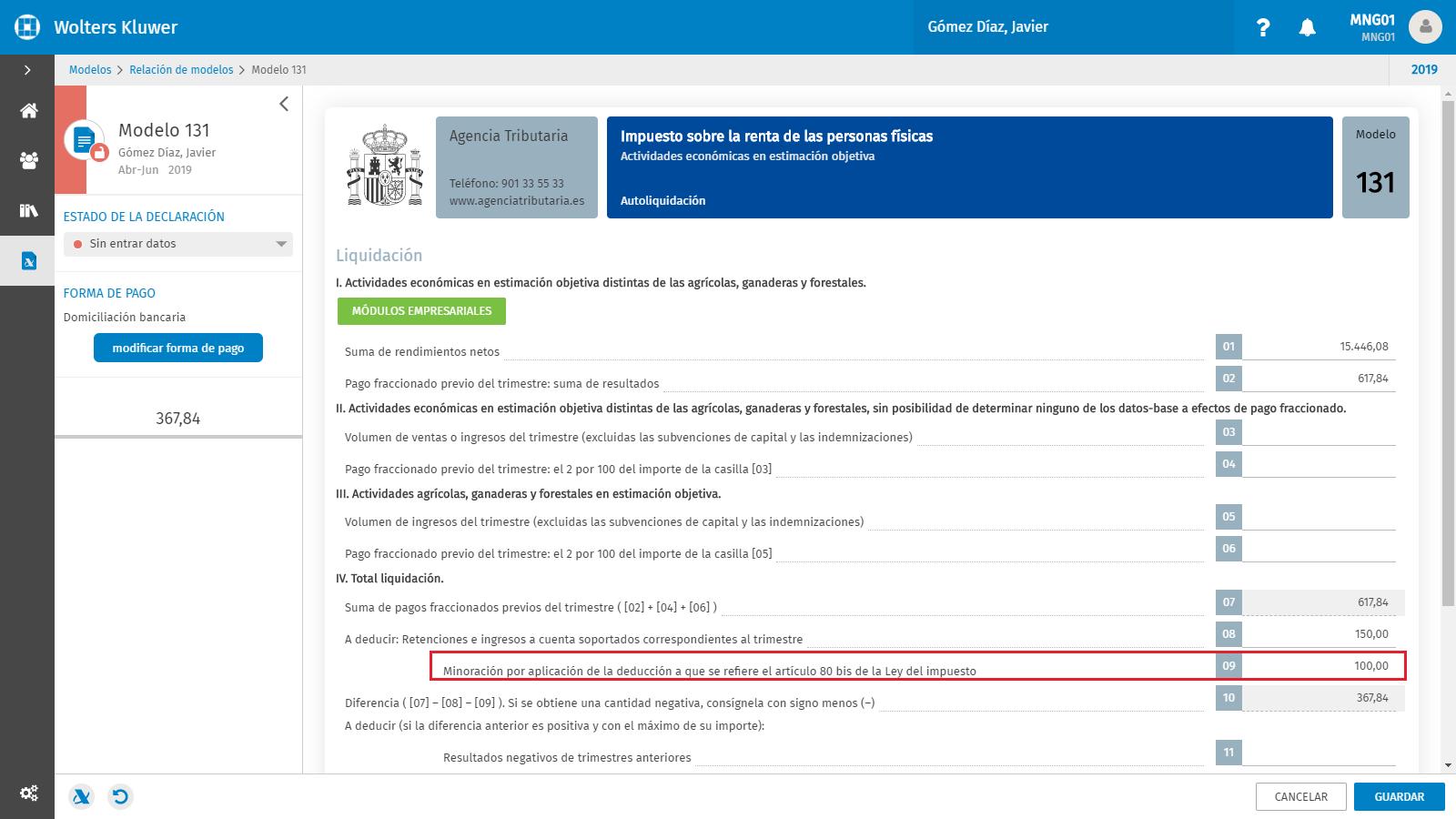 Modelo 131 Casilla 9 Minoracion por aplicacion de la deduccion a que se refiere el articulo 80 bis de la Ley del impuesto