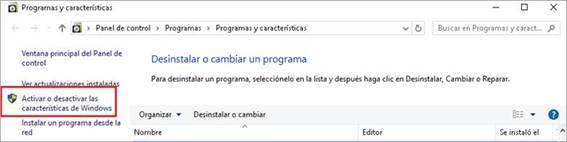 Activar o desactivar característicasde Windows