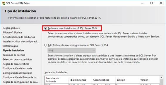 Penform a new installation of SQL Server 2014