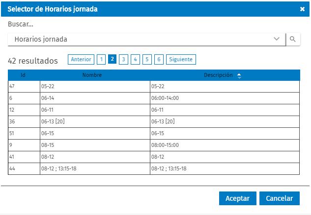 selecctor horarios