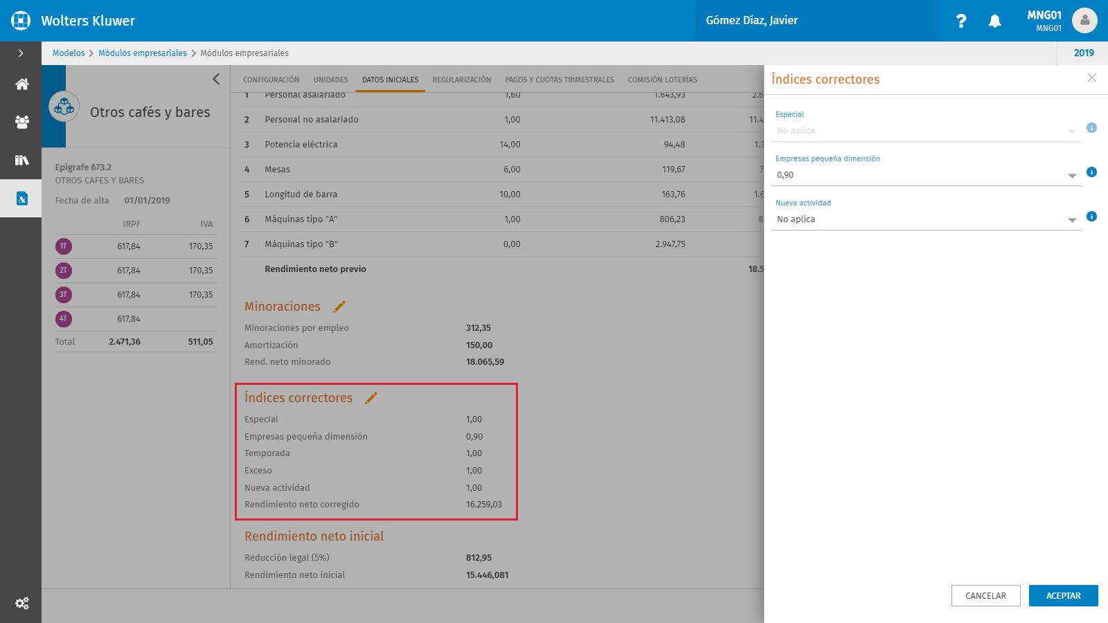 Modulos empresariales Datos iniciales Indices Correctores2