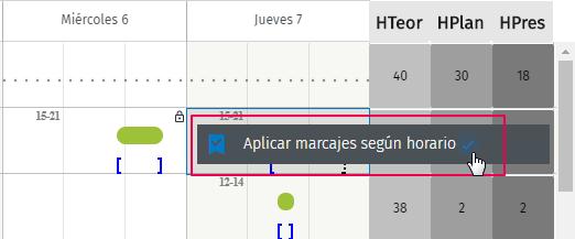 aplicar marcajes segun horario