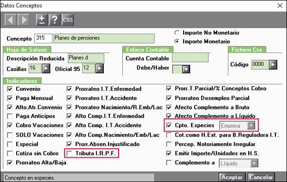 configuracion concepto plan pensiones