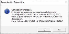 aviso de presentación