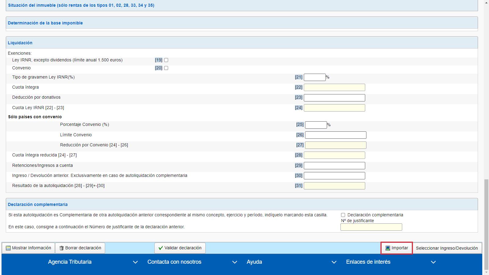 Modelo 210 Formulario web AEAT Importar