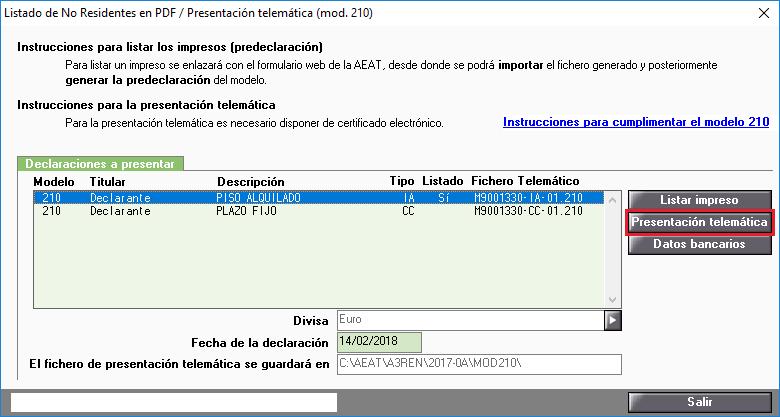 Modelo 210 Presentación telemática