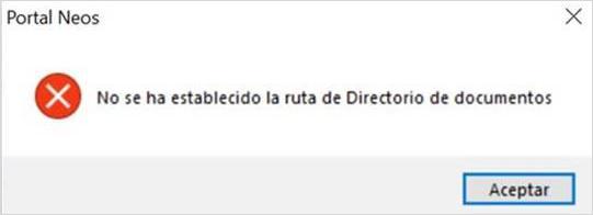 no se ha establecido la ruta de directorio documentos