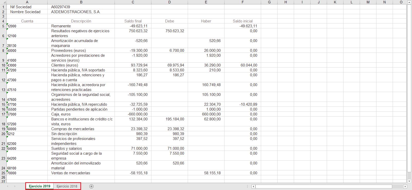 Informes contabilidad Exportar sumas y saldos a a3ASESOR soc Excel