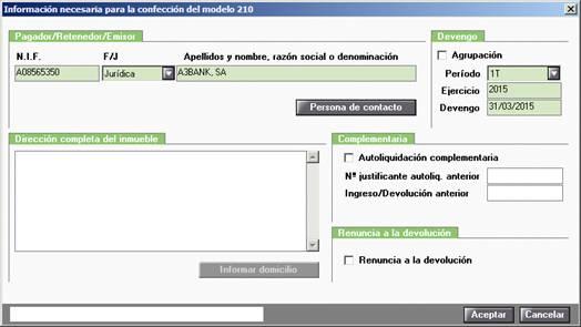 Información necesaria modelo 210
