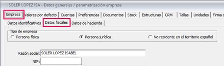 parametrizacion empresa