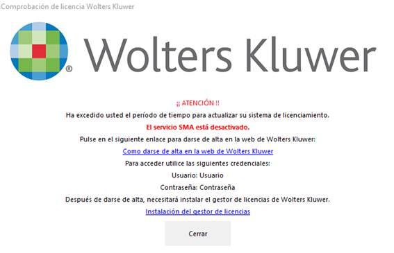 Comprobación de licencia Wolters Kluwer