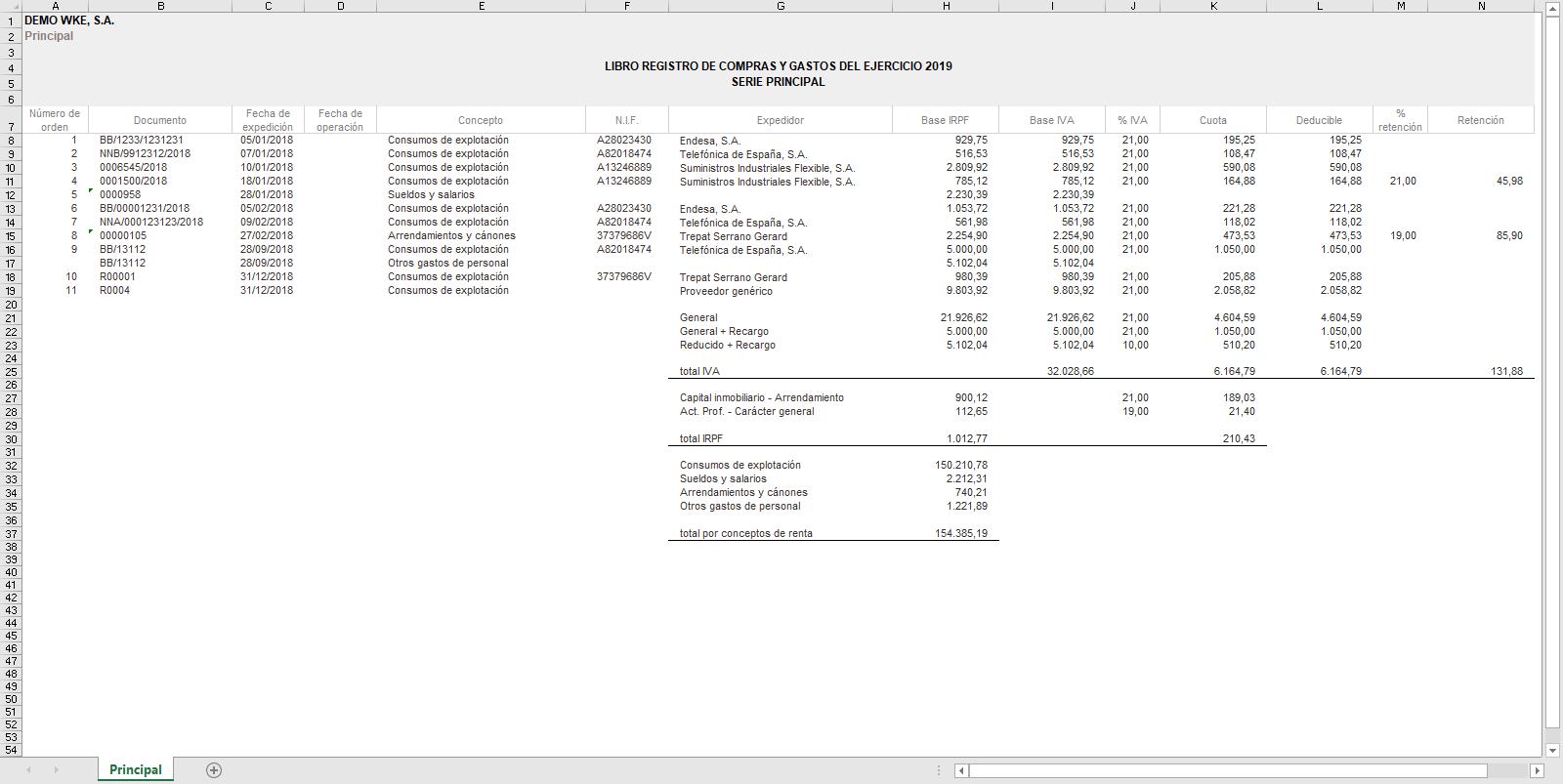 Listado de Registros de Compras y gastos Excel
