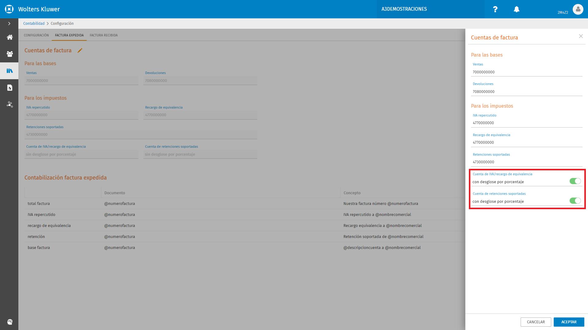 Configuracion Factura Expedida Cuentas