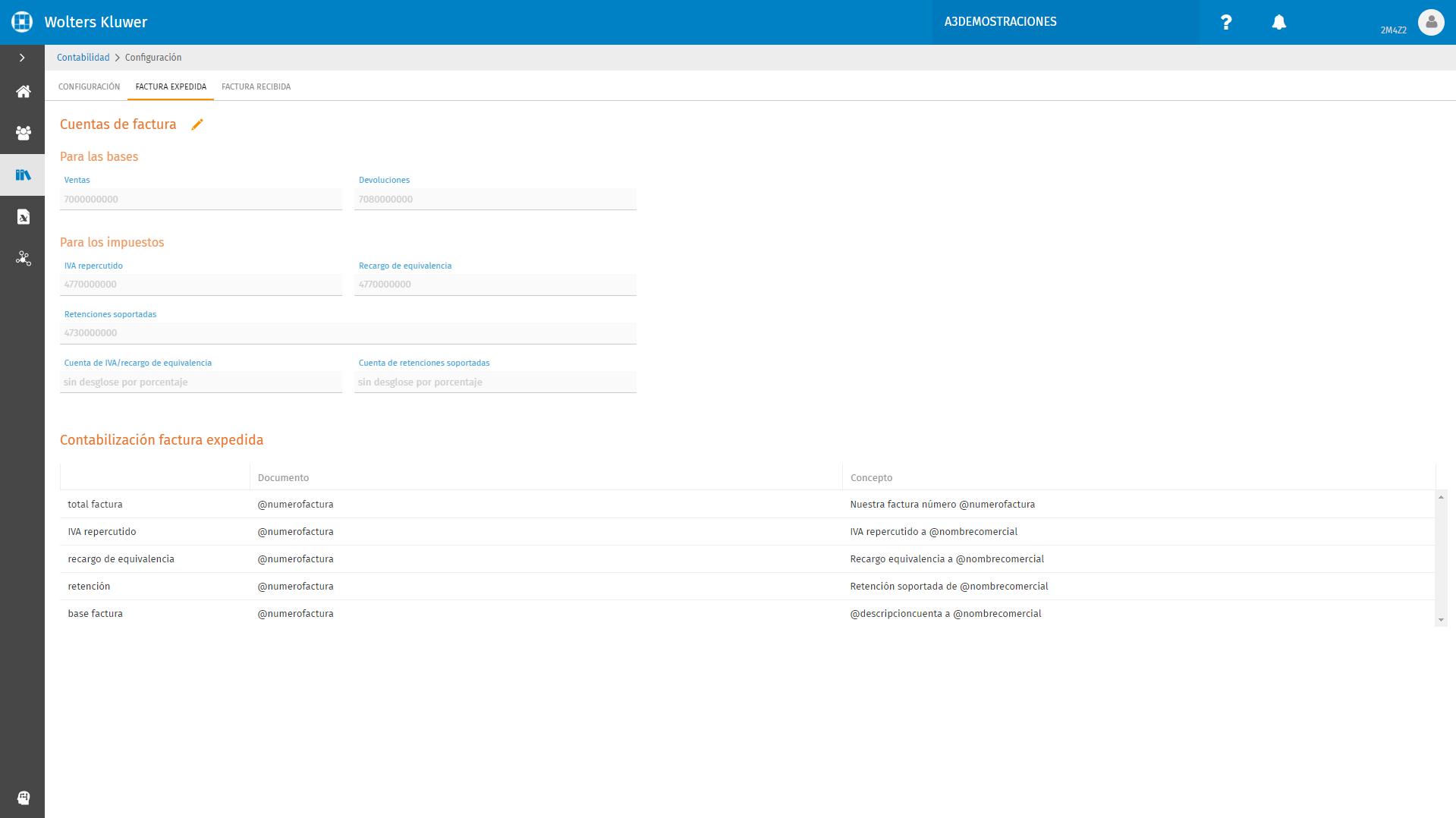 Configuracion Factura Expedida
