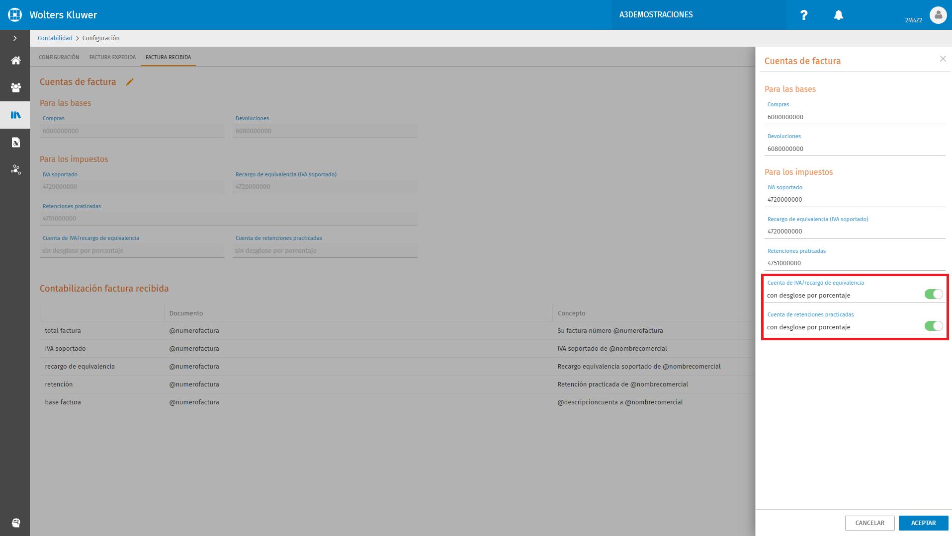 Configuracion Factura Recibida Cuentas