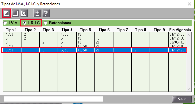 Tabla de igic modificar