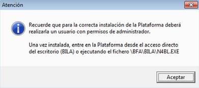 Aviso plataforma BILA