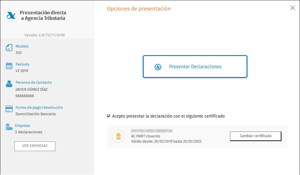 PDA Opciones de presentacion masiva